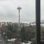 quick snapshot of the Space Needle from our room on the 10th floor - on a snowy Seattle morning!