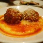 Tomato Braised Pork Meatballs on a bed of polenta - get it!!!