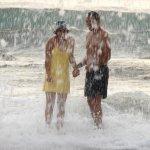 Un Geyser natural, al reventar la ola en arrecife de playa Pelada.