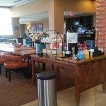 Lobby/breakfast area. Coffee urns empty in afternoon.