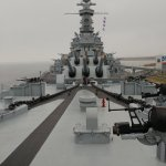 USS Alabama, view from the bow.