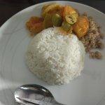 nasi megono dan tomat pete