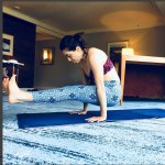 Doing some yoga in my spacious Park Hyatt Melbourne room