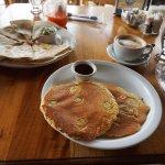 Delicious healthy banana pancakes, chicken quesadilla, fresh juice and cafe latte!