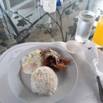 The breakfast: dried fish, garlic rice and sunny side up but you can choose from their list