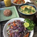 Passion fruit smoothie, crispy tofu, coconut palm heart green curry, pad thai and rice!