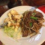 Half size portion Honey King Prawns & Beef Chow Mein