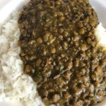 Green and red lentil Dahl with spinach