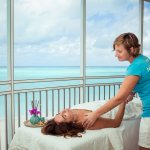 Relax with a massage on your screened in patio with beautiful views of Grace Bay.