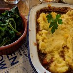 Shepherds Pie with wilted Greens
