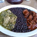 Pork Chile Verde, black beans, Beef Chile Rojo