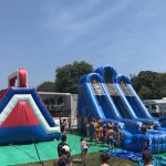 Our inflatable water slides and obstacle course. Count me in!
