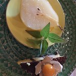 Delicious poached pear for dessert