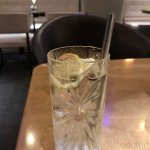 Gin and Tonic, with a metal straw, never seen this, was so cool