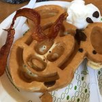 Free Mickey waffles at breakfast buffet, but the waffle iron was FILTHY!