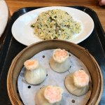 Shao mai pork and shrimp dumplings and fried rice