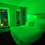 When I first opened the door, the room was in green light. Cool.