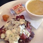 Bacon blue cheese burger, low carb style (no bun), side of beer cheese soup. Okay beef, great to