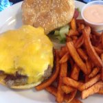 Classic cheeseburger with sweet potato fries. Great fries, mediocre burger.