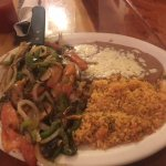 My plate of Santa Fe chicken with rice. It was so delicious I could not help eat it all.