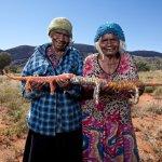 Martha Protty and Nyinku Kulitja at Docker River 2010 Photo by R Hammerton©Tjanpi Desert Weavers