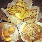 Plaintain, Malanga and Corn Chips; Brazilian Cheesy Bread; Mixed Seafood Ceviche