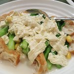 Interesting vege dish (kailan, tofu skin, gingko nuts, & yootiao)