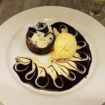 Warm chocolate cake with ice cream
