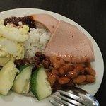 Buffet breakfast; nasi lemak, baked beans & chicken ham