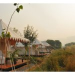 Luxury tents overlooking the Ranthambhore escarpment