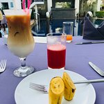 Breakfast pic - watermelon juice, iced latte and fresh fruits