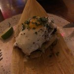 Carne Asada Tamal with Fried Egg.  Very good but small for the price $17