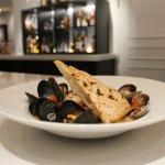 Brodetto di Pesce Misto: Mussels, shrimp, calamari, lobster & monkfish in white wine & tomato fu