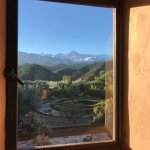 Taken from my room, a view of the gardens with mountains behind