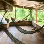 The hammocks in the hostel/shared area.