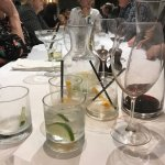 Some pre dinner drink glasses stayed on the table for the whole meal.