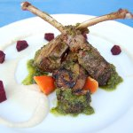 Rack of Lamb with Cauliflower Puree and Green Sauce with Mint