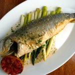 Sea Salt Crusted Whole Branzino | roasted asparago & blood orange burro