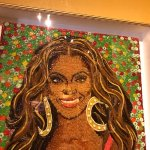 large portrait made out of candies