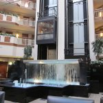 Glass elevator and fountain