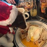 Our mascot, Benson, getting in on the life changing chicken and waffles.