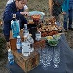 Gin display and sundownere snacks