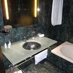 Bathroom, dark walls don't help the illumination