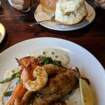 Breadbowl clam chowder and seafood platter
