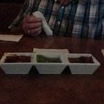 This is how the salsa is served. We are not fans of this method. We prefer the individual cups t