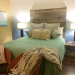Recycled Wood Head Board in Tranquility room