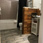 wood work in the Serenity room bathroom was last year, this year we added the tile