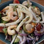 calamari, prawn and scallop salad - overpowering red onion & roe on barely cooked scallops