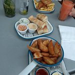 fish and chips, dips, wedges