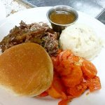 Friday Jan 12th blue plate special! Pot roast candied carrots mash potatoes n gravy! $7